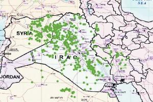 نقشه کانونهای توفان خاک در سال 2008 (منبع: مقاله هادی گریوانی و همکاران)