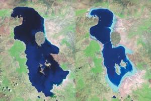 دریاچه ارومیه در سالهای 1985 و 2010