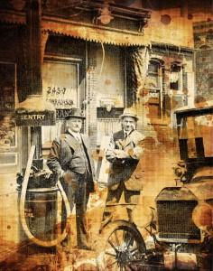 در سال 1915، سیلوانوس بوسر (سمت چپ) در کنار یک دستگاه پمپ بنزین، روبروی یک فروشگاه اتومبیل «فورد» ایستاده است. در سمت راست تصویر، خودروی «فورد مدل تی» به چشم میخورد که نخستین اتومبیلی است که توانست به مدد تولید انبوه و قیمت نسبتاً ارزان، به صورت فراگیر بازار مصرف طبقه متوسط را تسخیر کند؛ چنانکه در 1918 نیمی از کل اتومبیلهای موجود در آمریکا را «فورد مدل تی» تشکیل میداد. اختراع پمپبنزین و ابتکار تولید انبوه ماشین، دو علت اصلی رشد مصرف بنزین به شمار میروند.
