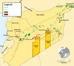نقشه میادین عمده و خطوط انتقال نفت و گاز سوریه